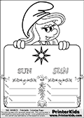 Coloring page with Smurfette (la schtroumpfette) holding an educational board with a sun on it. The board has cute flower ornaments that split the board into a display area with the symbol and two areas with lines that can be written on. The lines has a pencil symbol to their left. The idea behind this educational kids activity page was to encourage kids to practice writing. The board has the word SUN written with two different fonts.
