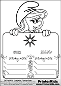 Coloring page with Smurfette (la schtroumpfette) holding an educational board with a sun on it. The board has cute flower ornaments that split the board into a display area with the symbol and two areas with lines that can be written on. The lines has a pencil symbol to their left. The idea behind this educational kids activity page was to encourage kids to practice writing. The board has the word sun written in lower case with two different fonts.