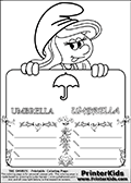 Coloring page with Smurfette (la schtroumpfette) holding an educational board with an umbrella on it. The board has cute flower ornaments that split the board into a display area with the symbol and two areas with lines that can be written on. The lines has a pencil symbol to their left. The idea behind this educational kids activity page was to encourage kids to practice writing. The board has the word UMBRELLA written with two different fonts.
