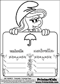 Coloring page with Smurfette (la schtroumpfette) holding an educational board with an umbrella on it. The board has cute flower ornaments that split the board into a display area with the symbol and two areas with lines that can be written on. The lines has a pencil symbol to their left. The idea behind this educational kids activity page was to encourage kids to practice writing. The board has the word umbrella written in lower case with two different fonts.