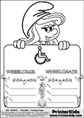 Coloring page with Smurfette (la schtroumpfette) holding an educational board with a wheelchair on it. The board has cute flower ornaments that split the board into a display area with the symbol and two areas with lines that can be written on. The lines has a pencil symbol to their left. The idea behind this educational kids activity page was to encourage kids to practice writing. The board has the word WHEELCHAIR written with two different fonts.
