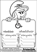 Coloring page with Smurfette (la schtroumpfette) holding an educational board with a wheelchair on it. The board has cute flower ornaments that split the board into a display area with the symbol and two areas with lines that can be written on. The lines has a pencil symbol to their left. The idea behind this educational kids activity page was to encourage kids to practice writing. The board has the word wheelchair written in lower case with two different fonts.