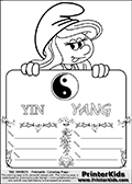 Coloring page with Smurfette (la schtroumpfette) holding an educational board with a Yin Yang symbol on it. The board has cute flower ornaments that split the board into a display area with the symbol and two areas with lines that can be written on. The lines has a pencil symbol to their left. The idea behind this educational kids activity page was to encourage kids to practice writing. The board has the words YIN YANG written with two different fonts.