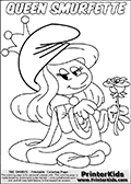 Coloring page showing the cute original female smurf Smurfette dressed up as Queen with a royal robe, a cute crown and a rose in her hand.