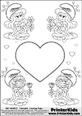Coloring page with 4 female smurf flower queens, two Smurfette flower queens and two Vexy Smurf flower queens. This variation of the Smurfette and Vexy Smurf colouring sheets has a single large heart at the center of the page that can be colored or used to write a romantic message. The printable pages also have small hearts in the background and the four colorable queens. There are 6 different versions of this variation with the Smurf queens in different positions. Smurfette and Vexy Smurf is drawn with a neutral flower in one illustration and a rose in the other. The Smurf Flower Queens are positioned in each corner of the colouring sheet. The Smurfette and Vexy Smurf group colouring sheet was intended for kids to print out for coloring or for online coloring on the PrinterKids website.