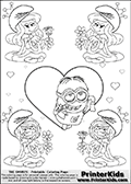 Coloring page with the Despicable Me Minion Dave and 4 female smurf flower queens, two Smurfette flower queens and two Vexy Smurf flower queens. This variation of the Smurfette and Vexy Smurf colouring sheets has Dave, one of the many awesome minions from the Despicable Me movies drawn in the middle of the page, in front of a single large Heart at the center of the page. The large heart can be colored or used to write a romantic message. The sheet also has small hearts and the colorable smurf queens.