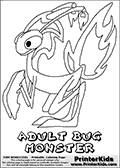 Online Coloring Page with Tiny Monsters