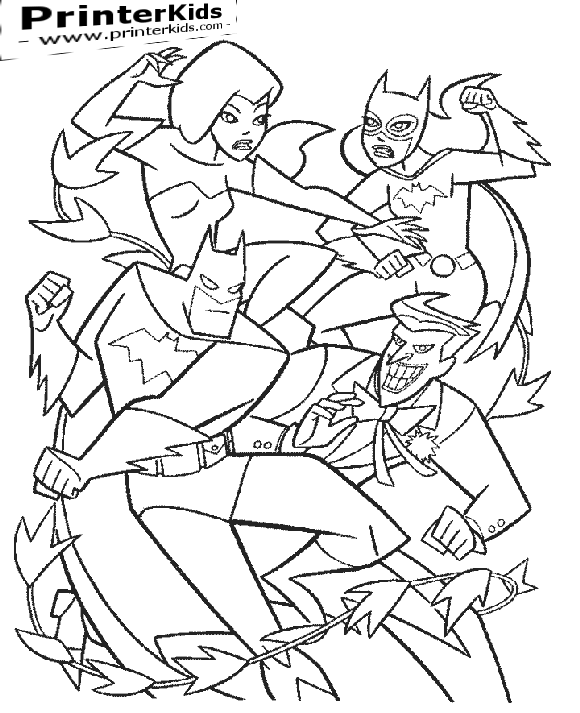 batman and batgirl vs the joker and poison ivy batman coloring page