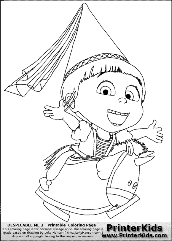 Despicable me 2 agnes and unicorn 2 coloring page preview for Despicable me 2 coloring pages