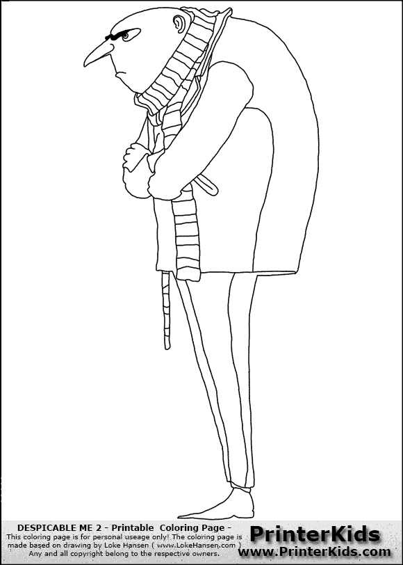 Gru despicable me pages coloring pages for Gru coloring pages