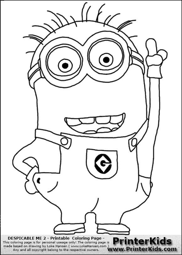 Despicable Me 2 - Minion #1 Pointing up - Coloring Page