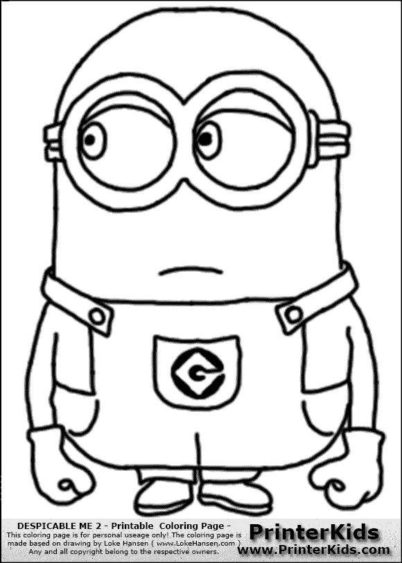 Despicable me 2 minion 5 no hair standing coloring page preview