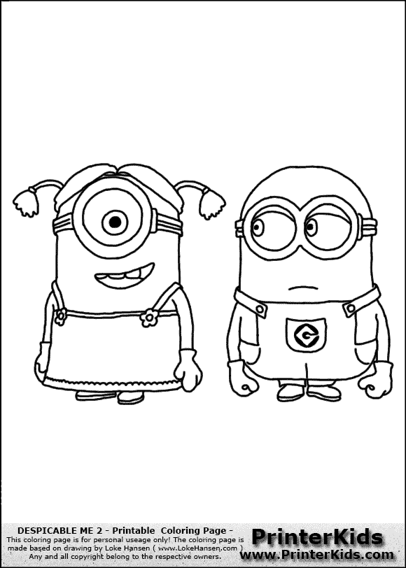 Free Female Minion Coloring Pages
