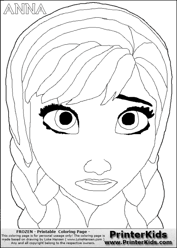 Anna Face Frozen Colouring Pages