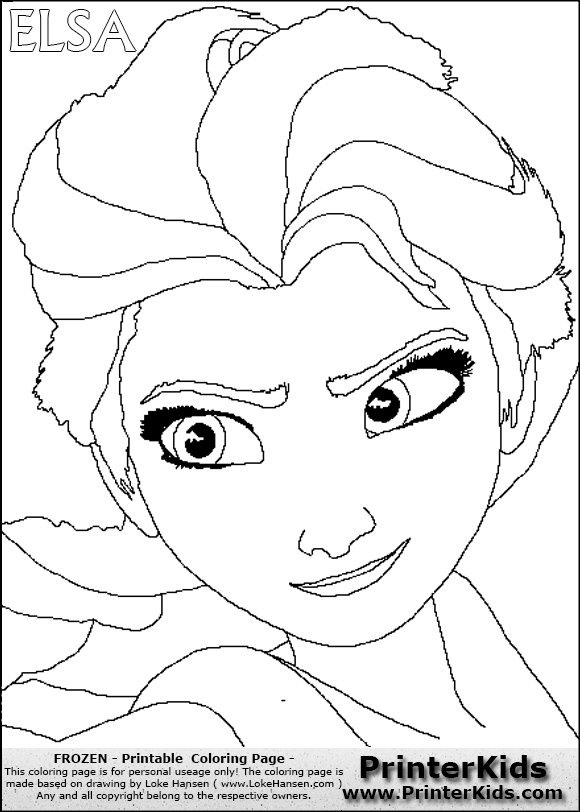 DISNEY FROZEN - ELSA (Detailed Face) - Coloring Page 1 Preview