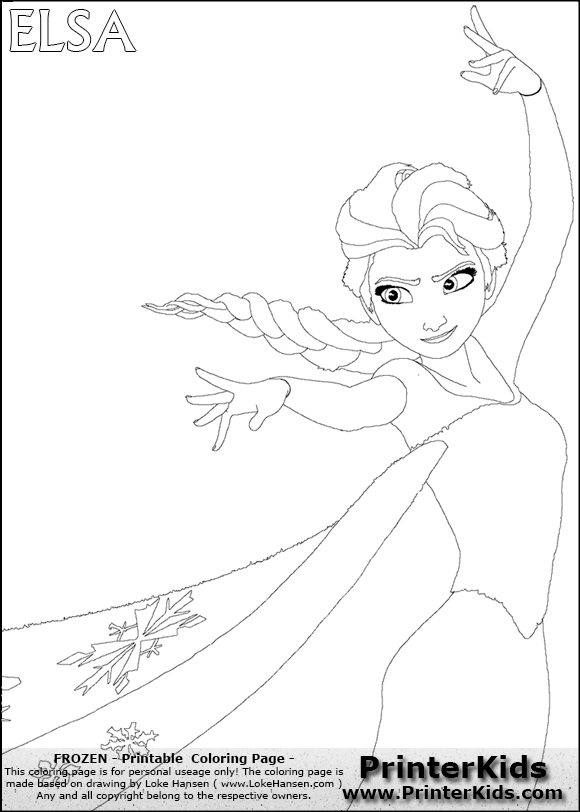 Disney frozen elsa free colouring pages for Elsa frozen coloring pages
