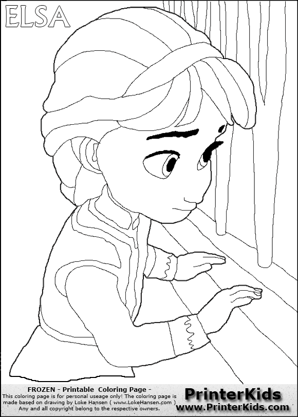 DISNEY FROZEN - Young Elsa By The Window - Coloring Page 16 PreviewYoung Anna Frozen Coloring Page
