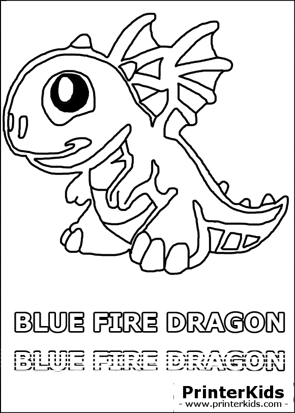 dragonvale blue fire dragon baby coloring page