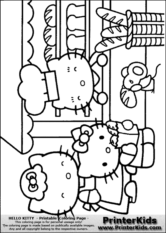 Hello Kitty Baking Coloring Pages : Free baker photos coloring pages
