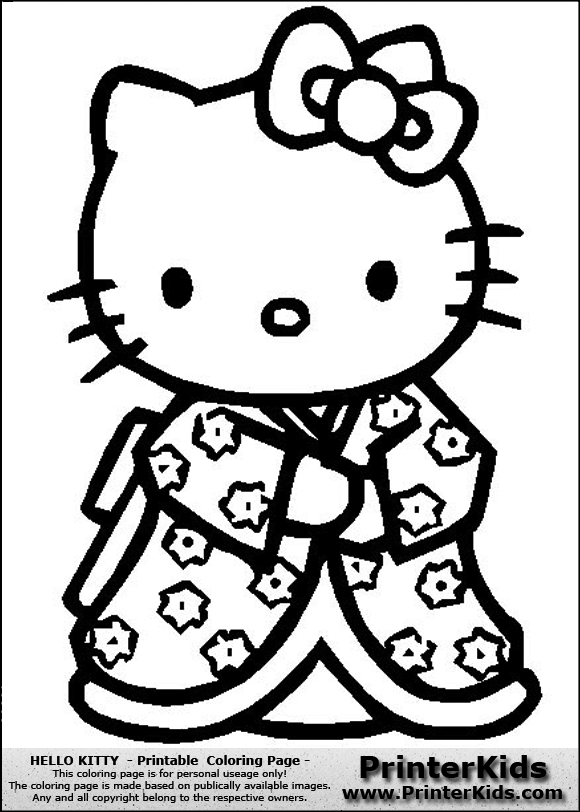 hello kitty oriental style coloring page - Kitty Printable Color Pages