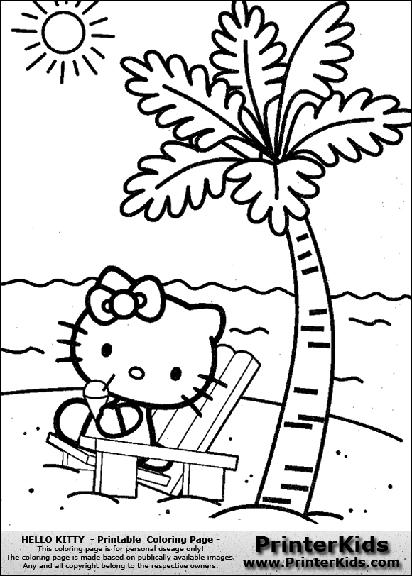 Beach Chair Coloring Page Color Online