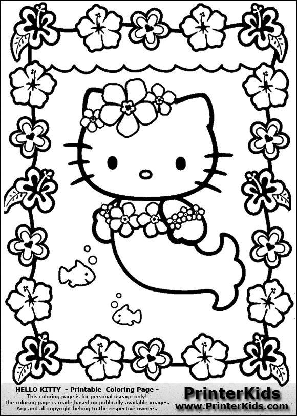Hello Kitty - Mermaid and Flowers - Coloring Page
