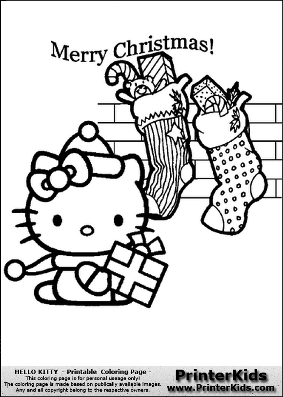 Hello Kitty - Merry Christmas with Stockings - Coloring Page