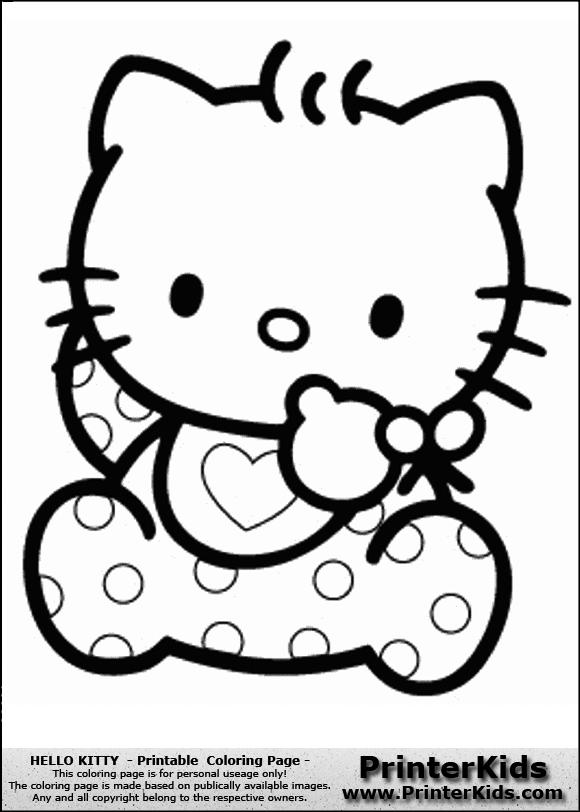 Hello Kitty - Baby in Dots - Coloring Page Preview