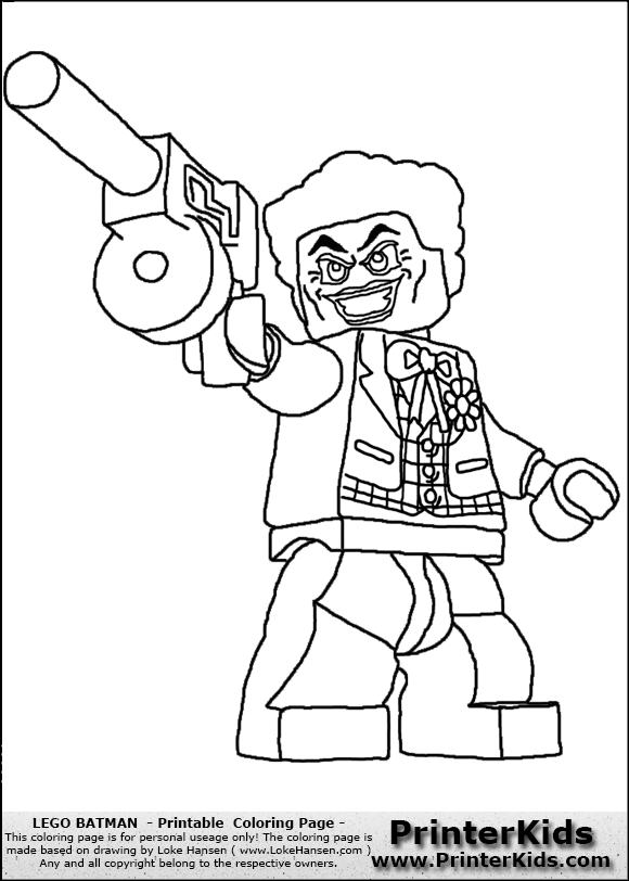 Lego Batman - The Joker with Tommy-gun - Coloring Page Joker Smile Png