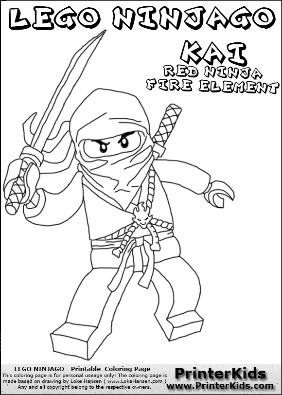 Lego NINJAGO KAI WITH SWORD Coloring Page Preview