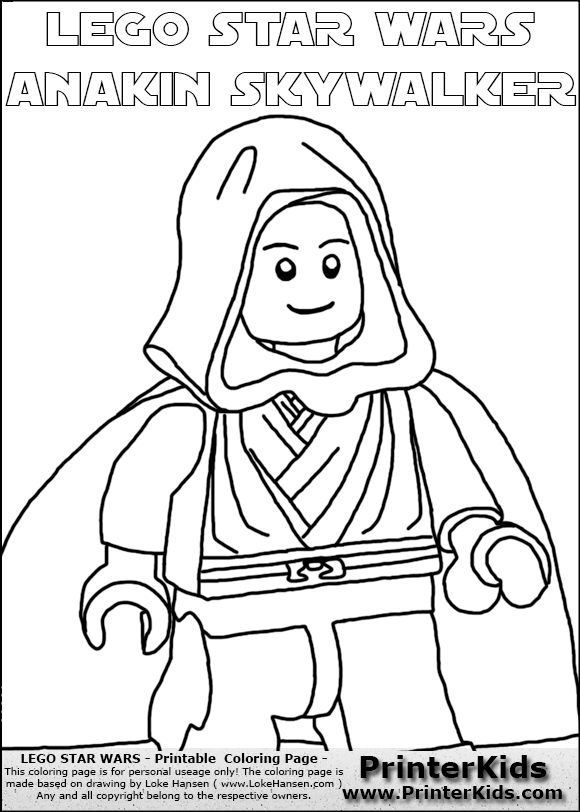 Lego Star Wars Clipped Young Anakin Skywalker Walking In Cloak Coloring Page For S Printable Free