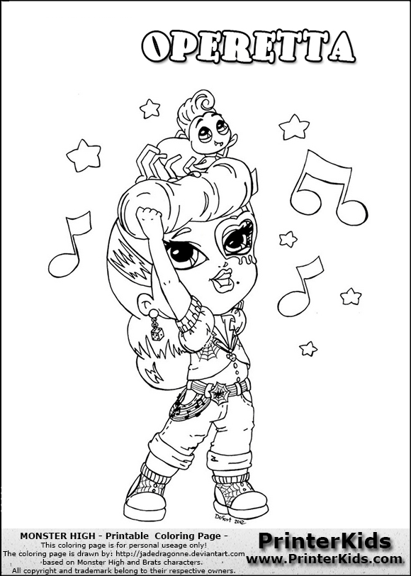 monster high operetta coloring page with operetta from monster high