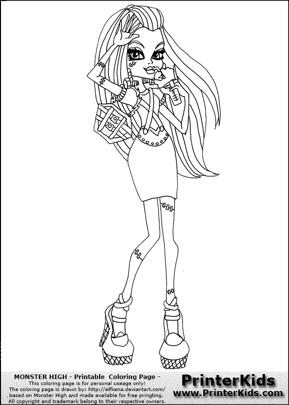 Monster high frankie stein coctail dress and drink coloring page