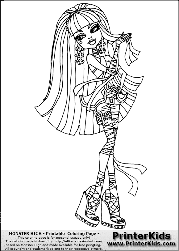 Monster High Cleo De Nile Printable Colouring Sheet With Cleo De Nile