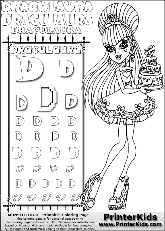 Printables Monster High Worksheets monster high draculaura sweet 1600 with cake letter d pencil practice
