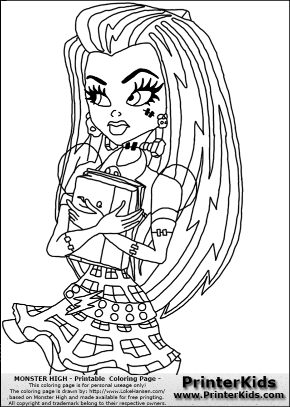 Free Coloring Pages Of Monster High Frankistein