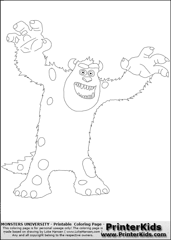monsters university sulley 7 coloring page