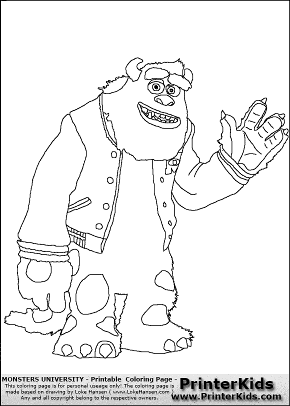 monsters university characters coloring pages sully