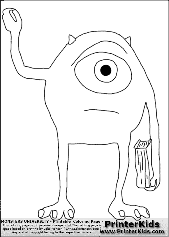 Monsters University Mike Coloring Pages