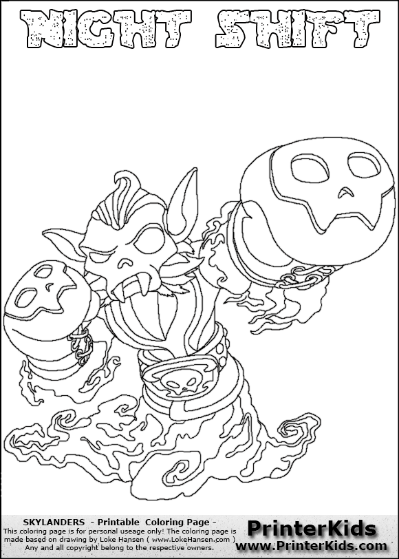Night Shift Skylanders Swap Force - Free Colouring Pages