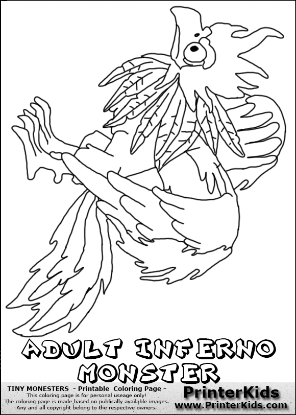 tiny monsters inferno adult monster coloring page ben