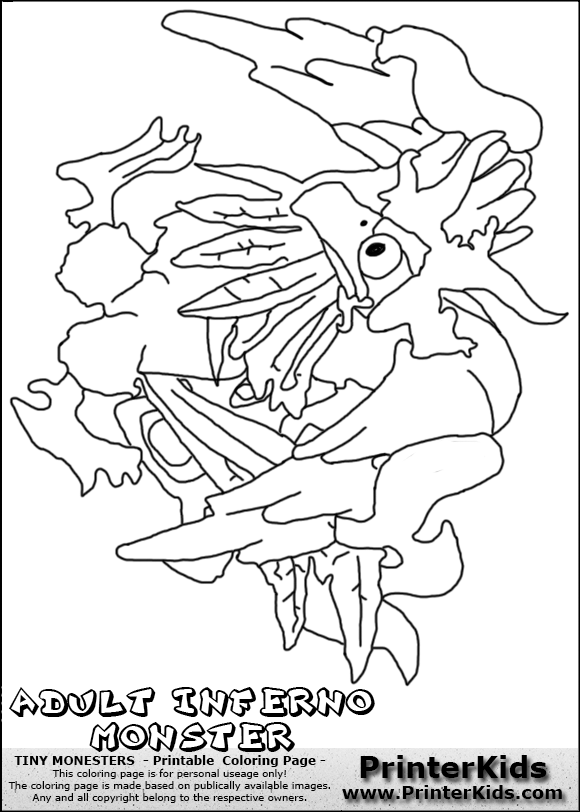 tiny monsters inferno adult monster coloring page dantes