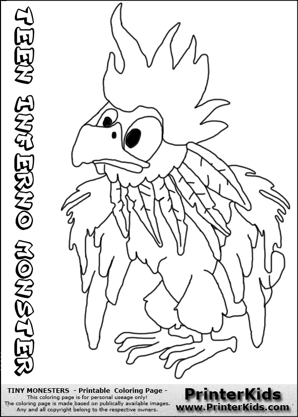 tiny monsters inferno teen monster coloring page clash