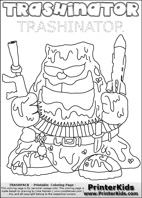 Free coloring pages of trash pack uft for Trash pack coloring pages to print