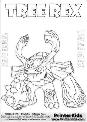 skylander giant coloring pages free printable skylander tree rex - Skylander Coloring Pages Tree Rex