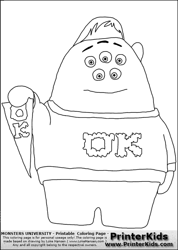 free monsters university coloring pages - disney character coloring pages monster university disney