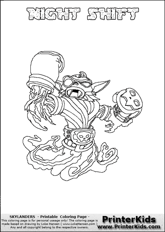 skylanders swap force coloring pages night shift